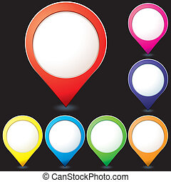 Set of colorful map pionter icons for any needs with little shadows on black background, vector illustration