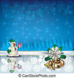 Christmas greeting with snowman and bells