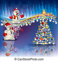 Christmas background with snowmen and tree - Abstract...