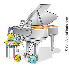 young pianist - Infant musician learning to play the piano