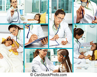Medical treatment - Collage of clinician and sick girl in...