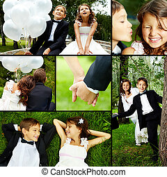 Celebration - Collage of children bride and groom in park