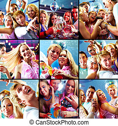 Party - Collage of glad guys and girls dancing and singing...