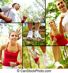 Outdoor training - Collage of healthy young female and man...