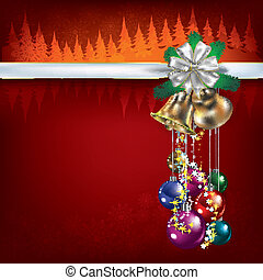 Christmas greeting with decorations and bells - Abstract...