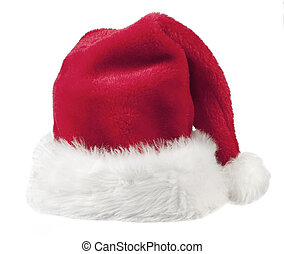 red hat - Santa claus red hat on white background