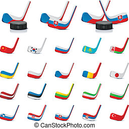 Vector ice hockey sticks/country1 - Set of the detailed ice...