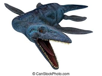 Elasmosaurus dinosaur fighting