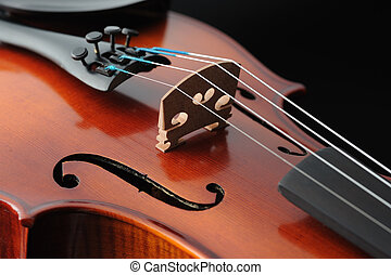 violino, detalhe, musical, instrumento, fim, cima