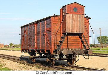 Deportation wagon at Auschwitz Birkenau