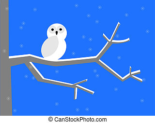 Snowy owl - White snowy owl perched on a branch in the cold...