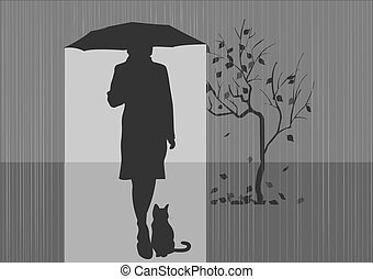 Girl with a cat - Girl with a cat under the umbrella.Autumn....
