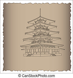 Japanese pagoda.Vector Illustration.