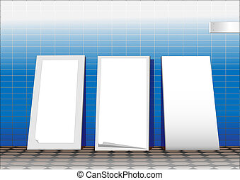 Three white advertising stands. Vector.