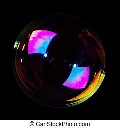 Soap bubble on black