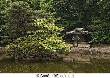 seoul south korean temple in traditional forest gardens