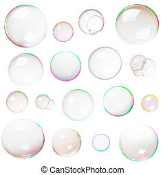 Soap bubbles - Colorful natural soap bubbles isolated on...