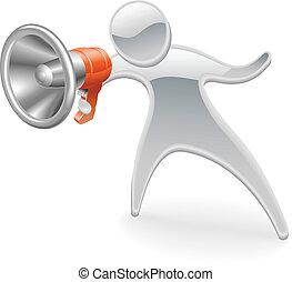 Metallic mascot megaphone concept