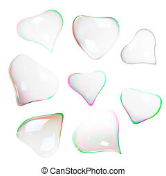 Soap bubbles heart shaped