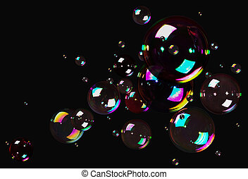 Soap bubbles on black
