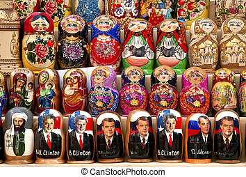 russian political matrioshka dolls in baku azerbaijan market...