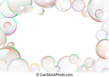 Colorful soap bubbles frame