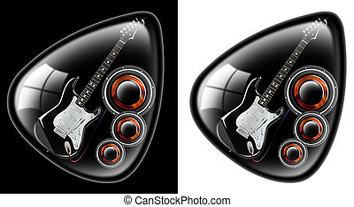 Black guitar plectrum - black plectrum with a guitar and...