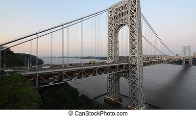 George Washington Bridge spanning the Hudson River from New...