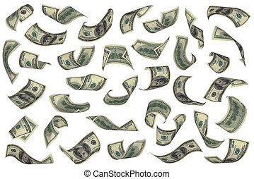 Hundred dollar bills falling on white background. No...