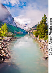 Rocky Mountains cloudy day - Lake Louise (in Rocky...