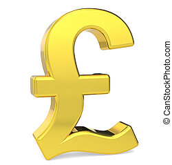 GBP - British Pound symbol Gold color Standing