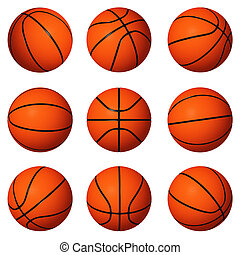 Different positions of basketballs isolated on white...