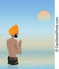 bathing in the holy pool - an illustration of a sikh man...