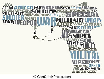 Original silhouette of a pistol - vector image Original...