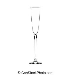 Champagne-flute glass - Empty champagne-flute glass isolated...