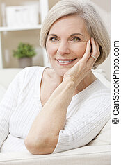 Portrait of A Happy Smiling Attractive Senior Woman -...