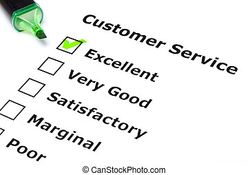 Customer service survey with green tick on Excellent with...