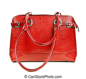 red leather ladies handbag isolated on a white background