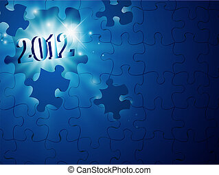 2012 New Year in puzzle - illustration of new year 2012 in...