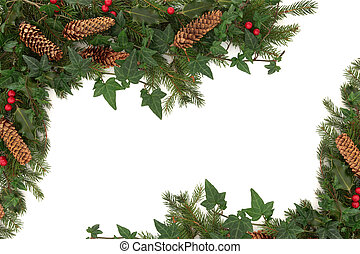 Christmas Border - Christmas border of holly, ivy, pine...