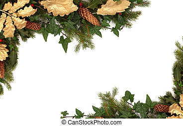 Winter Flora and Fauna - Christmas border of holly, ivy,...