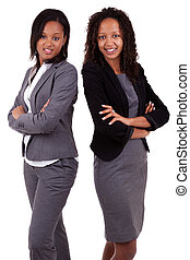 African american business women's with folded arms