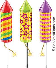 Firework rockets of different color on white, vector...