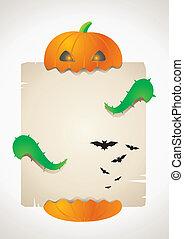 Pumpkin and a sheet of paper