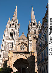 Cathedral of Bayonne - The two spires of the cathedral of...