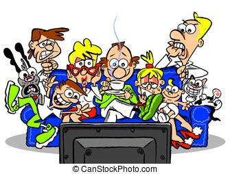 On TV.WBG. - cartoon family watching TV; on white background