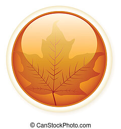 gloss_leaves - Autumn glossy button with leaf.