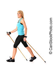 Nordic walking - A picture of a young woman practising...