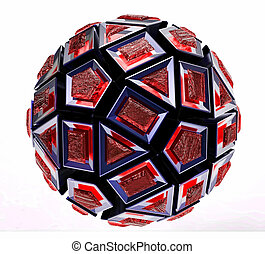 Black 3D abstraction - Black 3D sphere abstraction with...