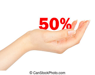 Sell-off in half the price of the palm of a woman. Isolated...
